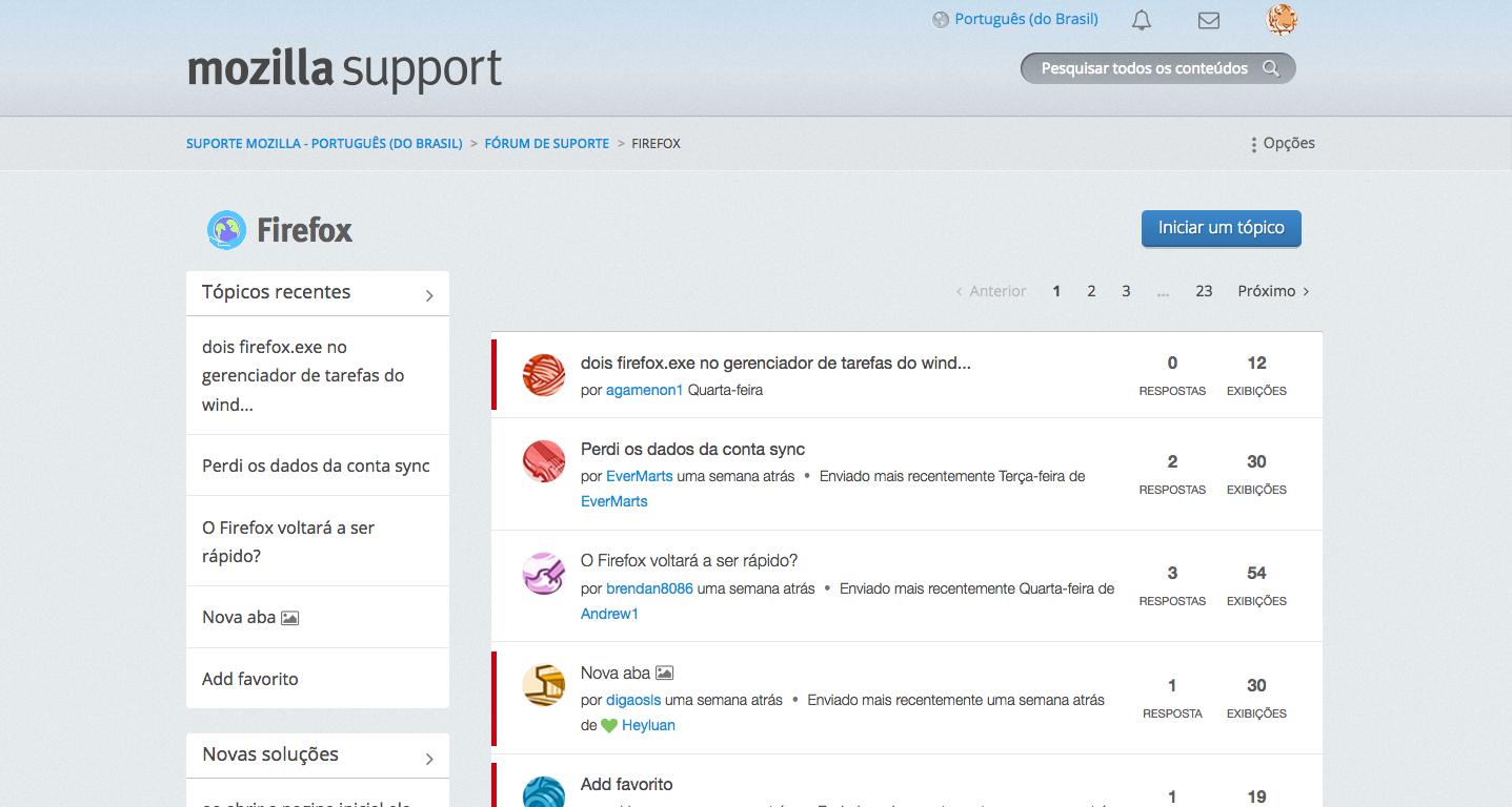 Imagem do fórum de suporte da Mozilla – versão Lithium